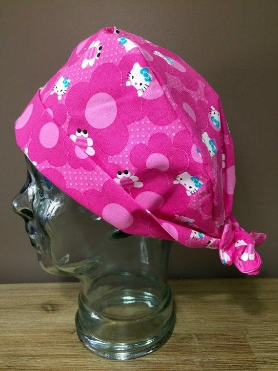 Sale Hot Pink Daisy Kitten Surgical Scrub Cap Women S