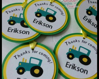 12 Tractor Themed Favor Tags w/ cello Bags,  Tractor Favors
