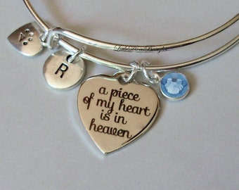 A Piece Of My HEART Cat Charm Bracelet W/ Birthstone Drop / INITIAL / Memorial Bangle  / Lost  Of Pet  Bracelet / Gift For Her - Usa P1