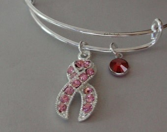 Awareness Pink Crystal Ribbon Bangle W/ Birthstone Bangle - Breast Cancer Bracelet / Personalize Bangle - / Gift For Her  USA  C1