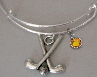 GOLF CLUBS Bangle Bracelet  W/ A Birthstone  Under Twenty / Sports Team Gift  Usa  G1