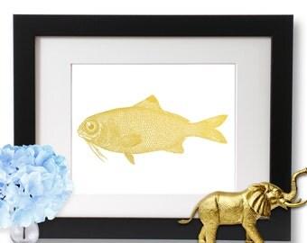 Fishing Print, Gold Foil, Lake House Decor Artwork, Cabin Wall Art, Gone Fishing, Fish Gifts
