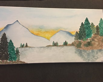 handpainted large watercolor painting on canvas