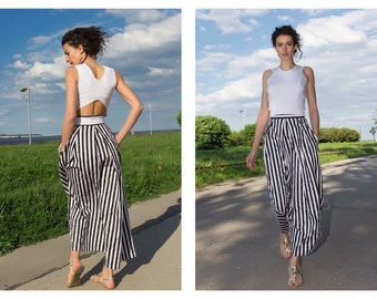 Maxi Skirt Women / Black and White Skirt / Striped Skirt / Long Skirt / High Waist Skirt / Cotton Skirt / Comfortable skirt