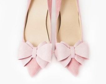 Pink Bows Shoe Clips Bridal Wedding Shoes  Mififi shoe clips