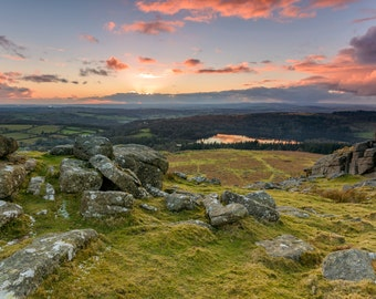 photography, color, landscape, wall art, moorland, Dartmoor, tor, sunset