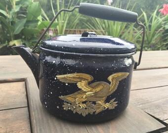 Vintage navy enamelware kettle with bald eagle