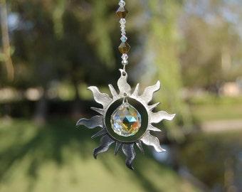 Crystal Suncatcher, Swarovski and Pewter Sun,  20mm Ball Prism, Rainbow Maker, Crystal Ornament, Car Rearview Mirror Charm SUNBURST