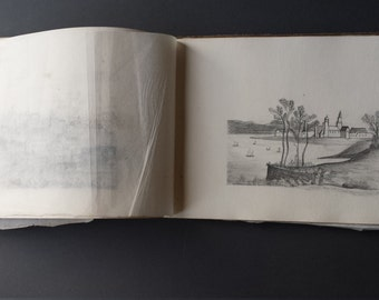Antique Artists Sketchbook, Handmade  contains 14 Sketches plus 10 unused pages dated January 1884