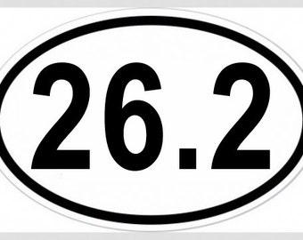 26.2 Marathon Oval Vinyl Decal Bumper Sticker or Magnet - Top Running Gift Present Funny Training