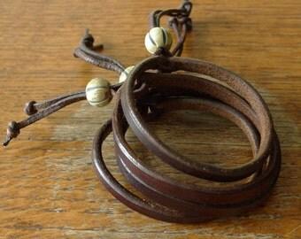 SCKLeather Handmade Leather Mellon Bead Bracelet
