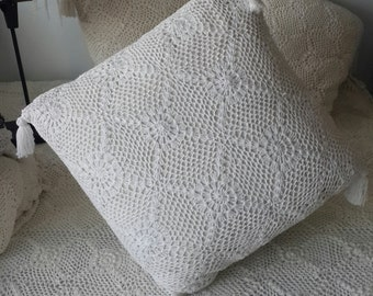 Handmade crochet Pillow with tassel trim  50x50cm, crochet cushion