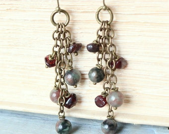 Garnet and Kashgar Garnet Bronze Earrings - Burgundy, Red, Green, Gemstones, Cluster, Women's Fashion