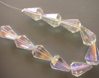 Diamond Cut Faceted Clear Crystal Teardrop Briolettes - 10 Crystals - 13.5mm x 10mm