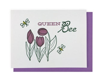 Mother's Day Letterpress Card // Tulip // Queen Bee // Bees // Mom // Momma // Mama