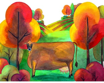 Folk Art Note Card set, Autumn Note Cards, Cow note cards, set of 8 note cards
