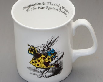 Alice In Wonderland White Bone China Mug - The Herald