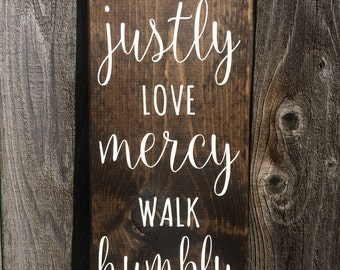 Stained Wood Micah 6:8 painted sign