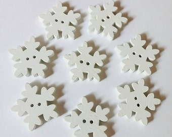 Wooden Snowflake Buttons x 8