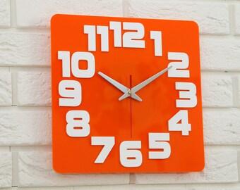 Clock Wall Clock orange modern wall clock children clock gift kids room wall decoration clocks