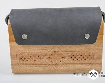 Wooden Buckle Handbag -Messenger bag -  Wooden bag -  Shoulder Bag - Unique shoulder bag - Trend 2016 - Wooden accessory [WD-208]