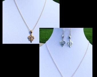 Gold Silver fleur de lis necklace and earrings jewelry set