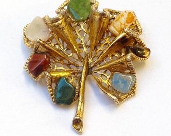 Vintage brooch~semi  precious gemstones -Crystals~pin~Wedding~Bride~Prom rare.