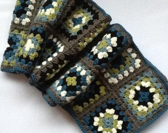 Handmade crocheted Granny Square scarf