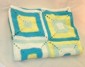 Baby Infant Toddler Squares Blanket Blue Yellow White Green Boy Girl Neutral