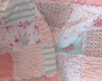 Partial Payment for a Twin Girls Rag Quilt, Modern Bedding in Pinks, Corals, and Mints, Shabby Chic, Floral, Twin Bedding,