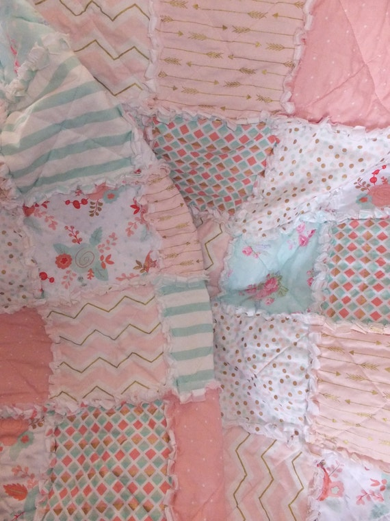 Rag Quilt Patterns For Twin Bed : Twin Girls Rag Quilt Modern Bedding in Pinks Corals and