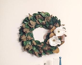 "Christmas Magnolia Wreath 24"" Magnolia Leaves with Magnolia Blooms and Burlap Wreath - Artificial Magnolia Leaf Wreath"