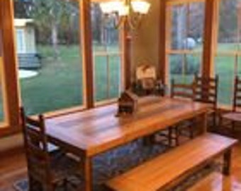 Deadhead cypress table and bench!