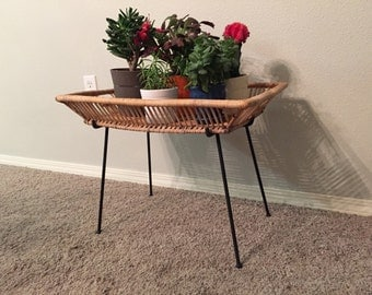 Arthur Umanoff Mid-Century Iron and Wicker Plant Stand // Side Table