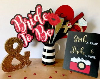 Bridal Shower Photo Booth Props | Photo Booth Props | Engagement Party Photo Booth Props | Wedding Photo Booth Props | Red Wedding