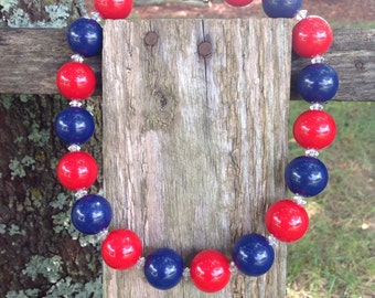 Red and blue, chunky bead necklace, bubble gum necklace, chunky necklace, bubblegum necklace, girls necklace, free shipping