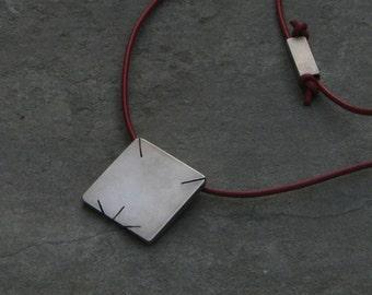 Men's gift.LEO. Star sign pendant. Sterling silver. Modern design.