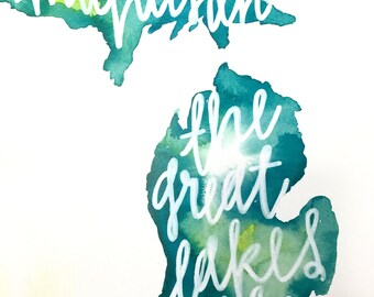 The Great Lakes state print 11x15in