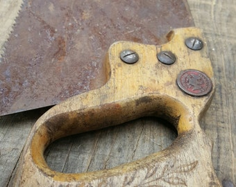 """Warranted Superior 29"""" Hand Saw with Wood Handle inspired Saw Tool Rusty Saw Reclaimed Old Saw Vintage Saws Arts Crafts, Hand Tool Salvaged"""