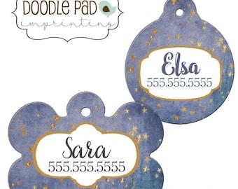Blue Dog ID Tag, Stars Pet Id tag