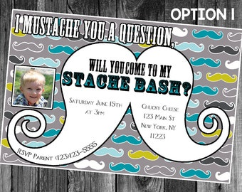Stache Bash Printable Customizable Digital Birthday Invitation with Photo for Mustache Party with Picture