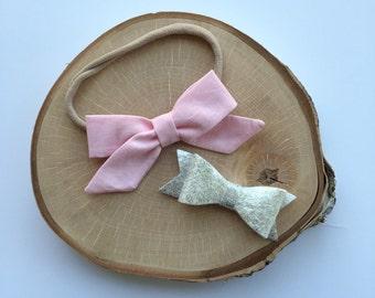 "Fabric ""Zoe"" pink bow headband// alligator clip// set"