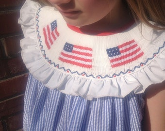Smocked Flag Dress, Smocked Girls Dress, Fourth of July