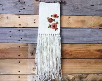 Cream & Floral // Small Wool Wall Weaving