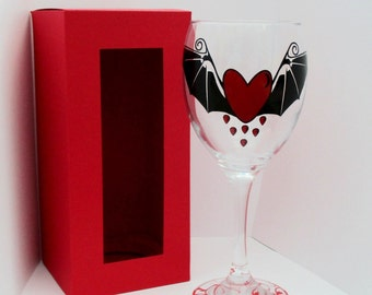 Batwing Heart Wine Glass in Presentation Box