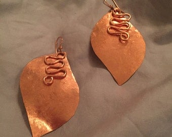 Hand Hammered Copper Leaf Earrings, Copper Metalwork Layered Leaf Jewelry, Simple Copper Jewelry, Timeless Copper Earrings