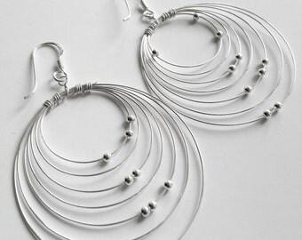 Sterling silver dangle earrings, wire earrings