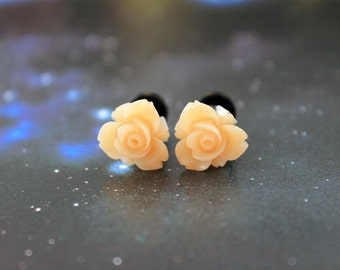 Pretty flowers plugs  gauges 3mm 8G stretched ears peach orange pastel