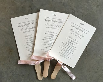 Modern Initials wedding ceremony fan program