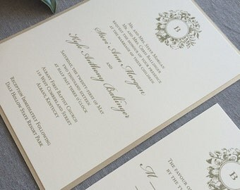 Sample Victorian Wreath wedding invitation in gold